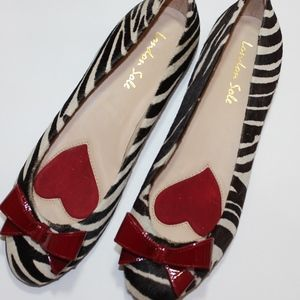 London Sole Calf Hair Zebra Red Ballet Bow Flats